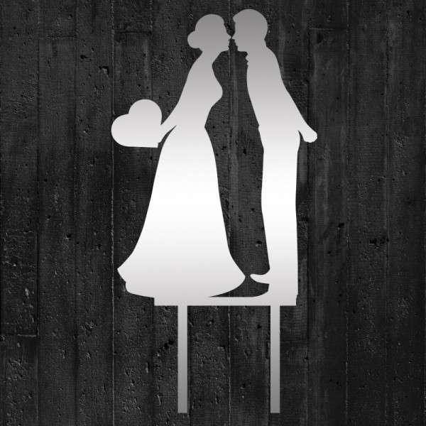 """Cake-Topper """"Brautpaar küssend mit Herz"""" Acryl Spiegel"""