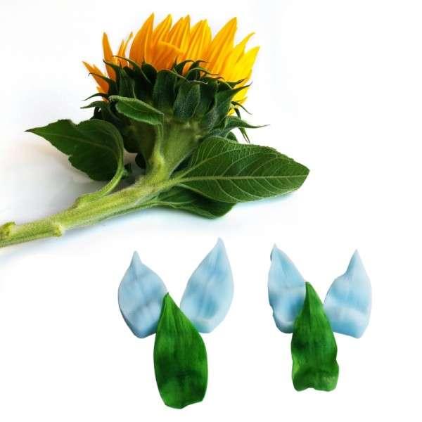 """Veiner """"Sonnenblume Kelchblatt"""" 2 Größen ca. 5,5x2,5 und 5x2 cm ( Sunflower,calyx )"""