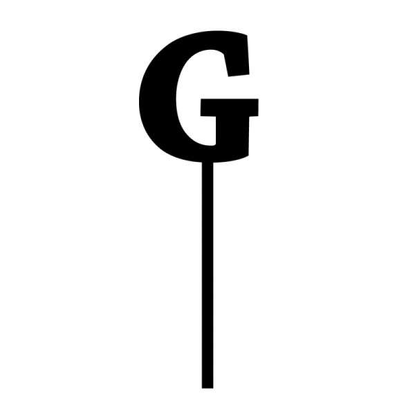 "Cake-Topper ""G"" Straight, dick, schwarz"