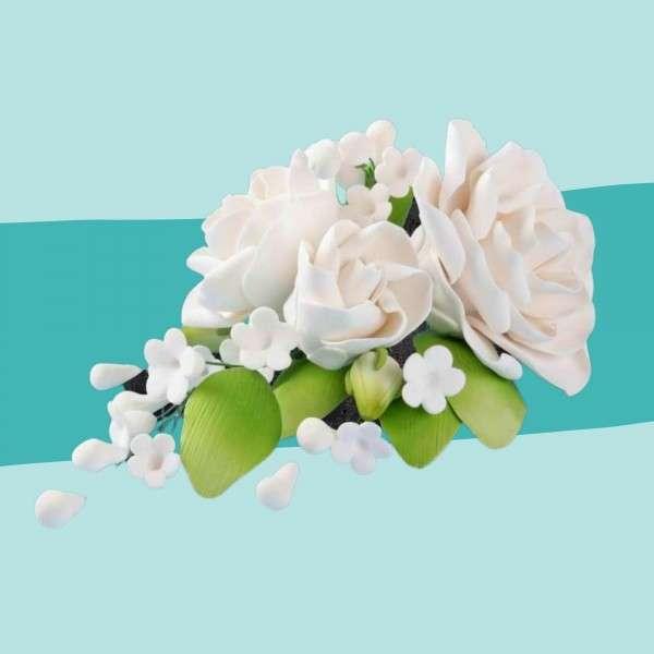 Zuckerblumenbouquet weiße Rose Vorschaubild