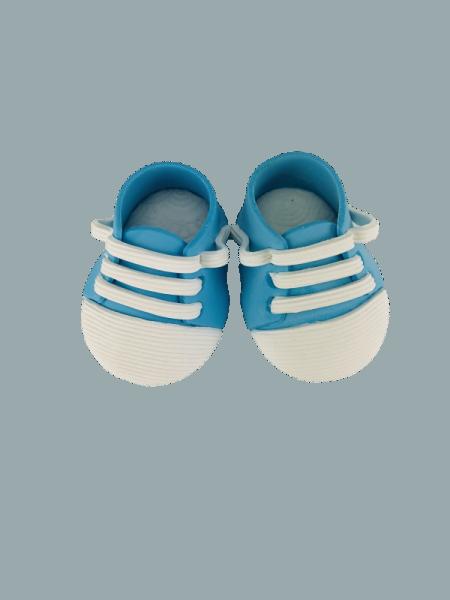 Zuckerdekoration Babyschuhe blau , 1 Paar, Einzelschuh ca.60 x 40mm