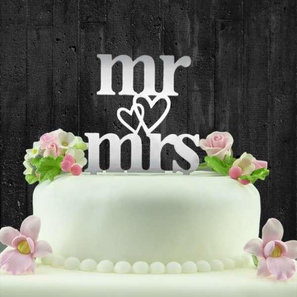 """Cake-Topper """"Mr&Mrs"""" mit Herz Acryl SPIEGEL"""