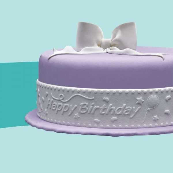 Fondantrand Happy Birthday auf Torte
