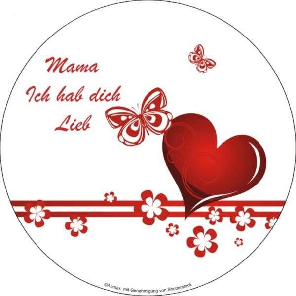 """Tortenaufleger Muttertag """"Mama ich habe dich lieb"""" 12 Stck"""