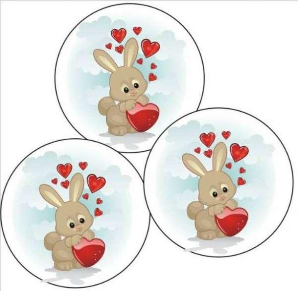 Tortenaufleger Hase mit Herz 40mm 12 Stck