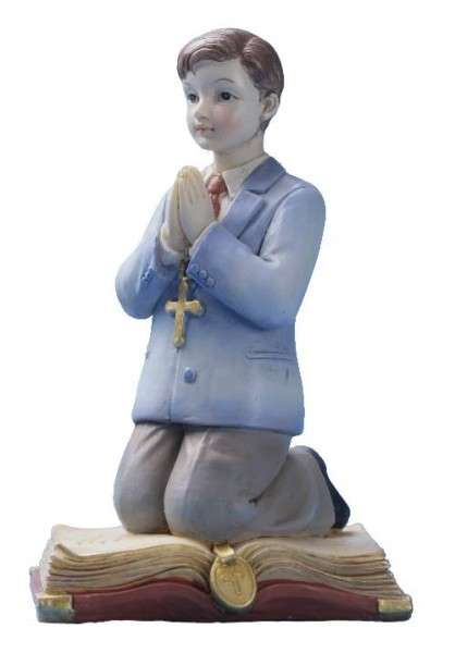 Tortenfigur Kommunion Junge kniend auf Bibel