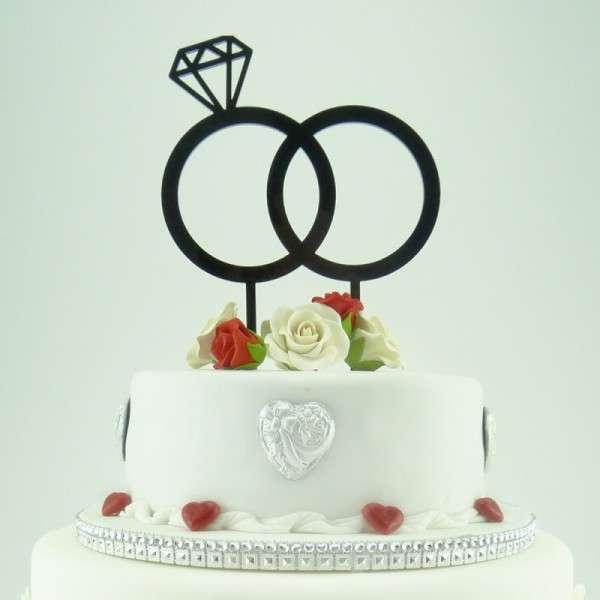 "Cake-Topper ""Doppelringe mit Diamant"" Acryl SCHWARZ"
