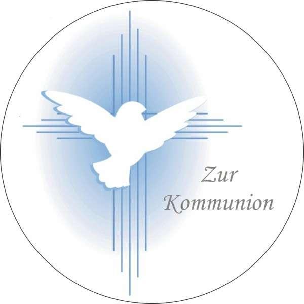 """Tortenaufleger Taube """"Zur Kommunion"""" blau 100mm"""