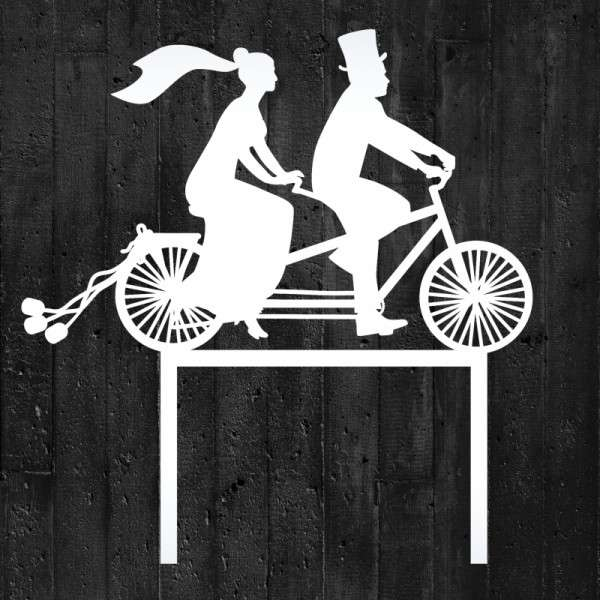 "Cake-Topper ""Brautpaar auf Fahrrad"" Acryl Weiß"