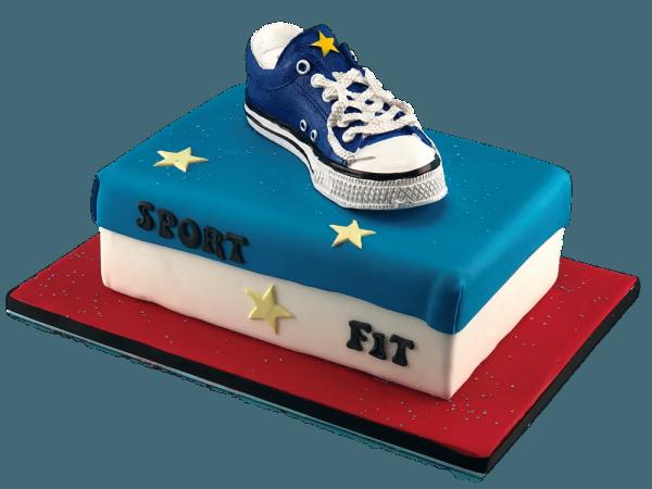 Motivtorte Sneakers-Spardose blau