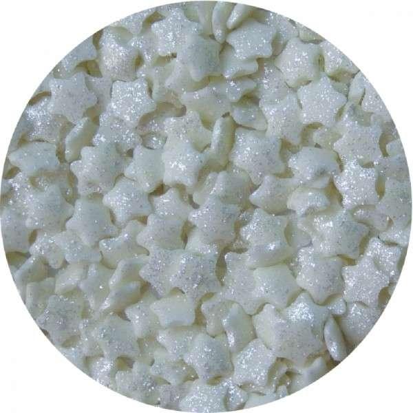 Zuckekonfetti Sterne mit Silberglanz ca.6mm 700g