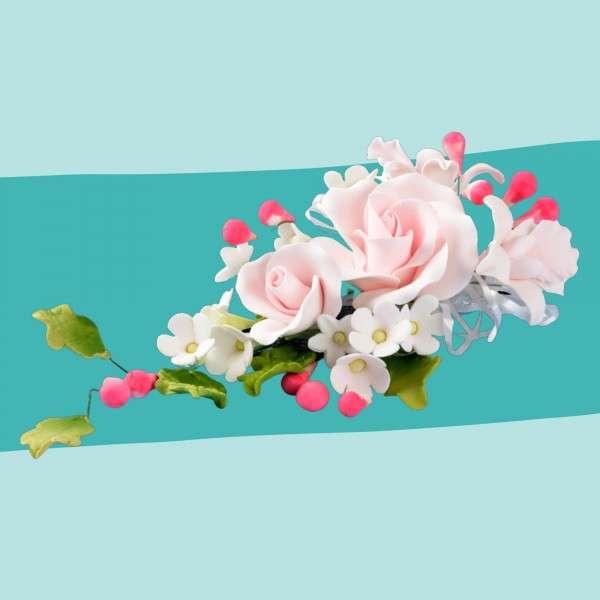 Zuckerblumenbouquet rosa Rose Vorschaubild