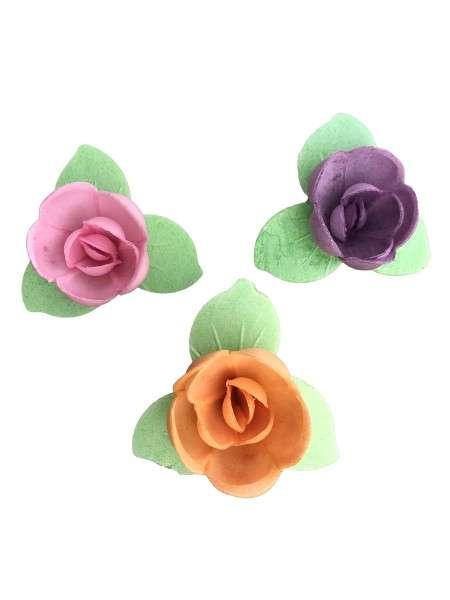 Esspapier Rose klein mit grünem Blätterkranz 40mm 81 Stck