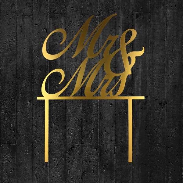 Cake-Topper Mr & Mrs Gold