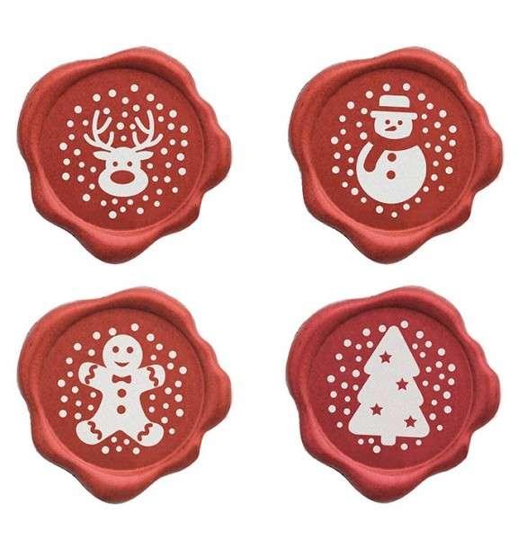 Schokoladendekor rotes Siegel Weihnachtsmotive dunkle Schokolade 70 Stck 32mm