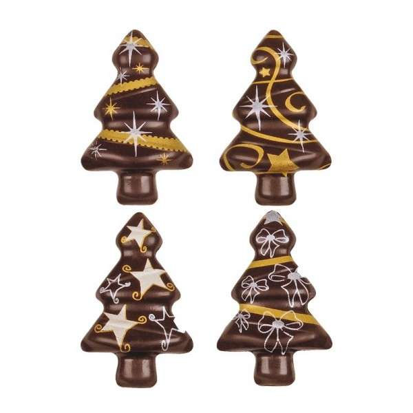 Schokoladen Weihnachtsbäumchen Gold-Silber ca.50mm 64 Stck