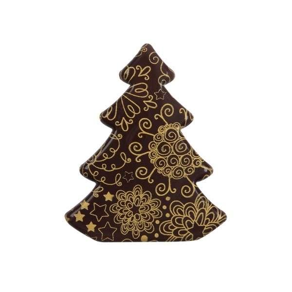 """Schokoladendeko """"Weihnachtsbaum goldene Spiralen"""" 55x45mm 60 Stck"""