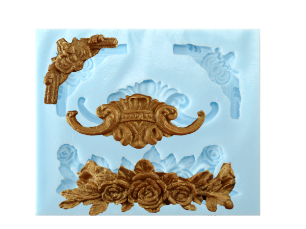 Silikonform für Fondant und Flowerpaste Rosen-Ornamente 4 Ornamente
