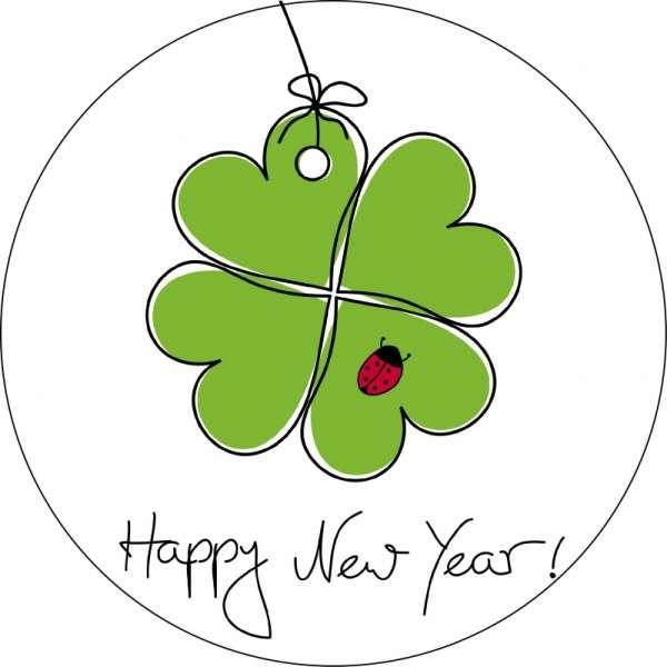 """4 große Esspapieraufleger """"Kleeblatt - Happy New Year"""""""