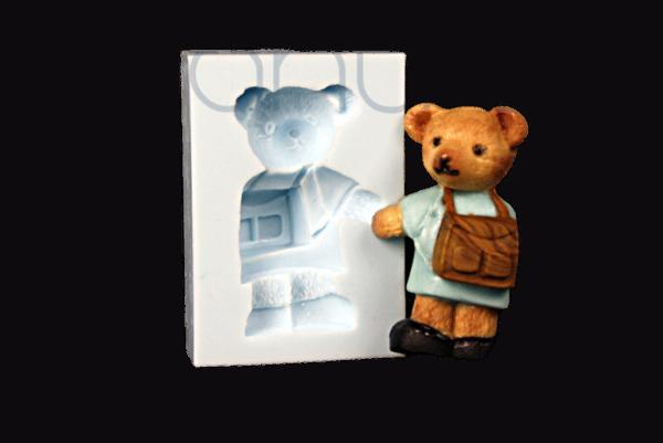Silikonform Teddy mit Schulranzen