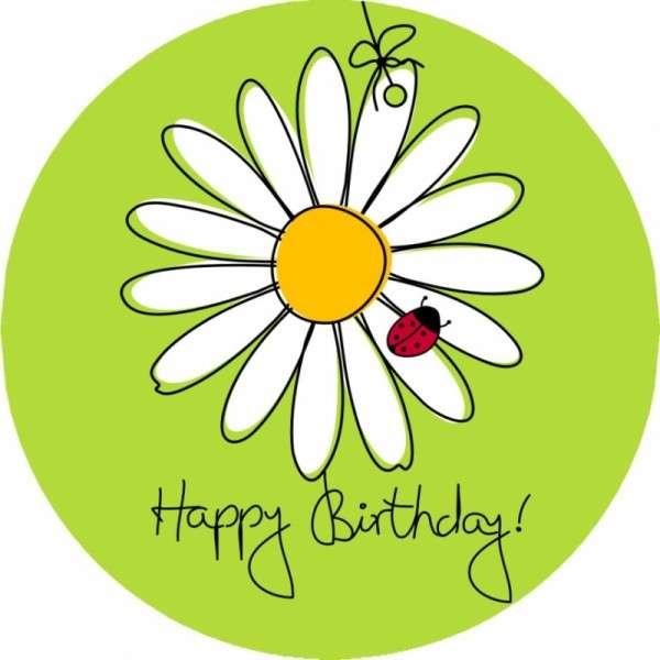 Tortenaufleger Happy Birthday mit Blume 10cm