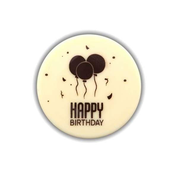 "Schokoladenaufleger""Happy Birthday"" 50mm rund 60 Stck"