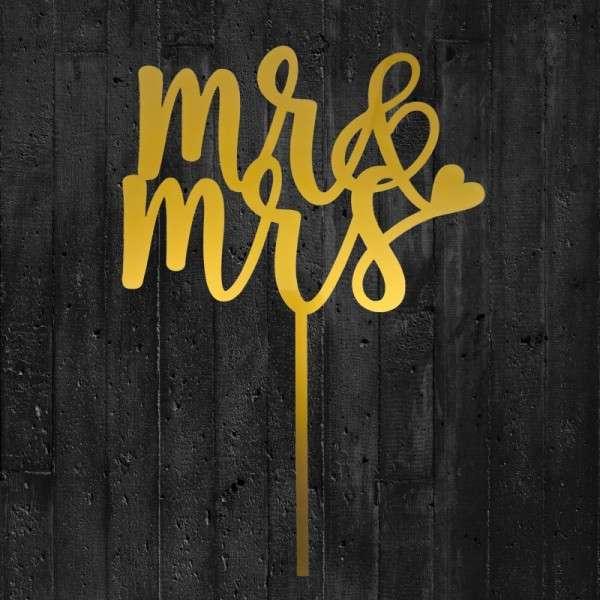"""Cake-Topper """"Mr&Mrs"""" 2 Acryl gold"""