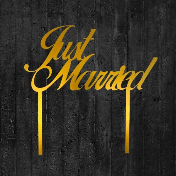 "Cake-Topper ""Just married"" Acryl gold"