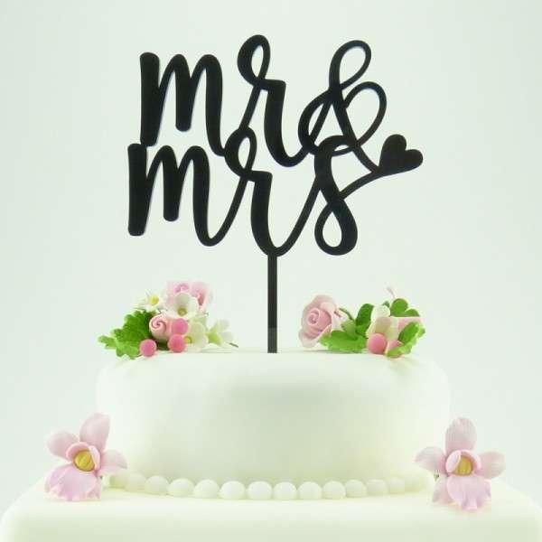 "Cake-Topper ""Mr&Mrs"" 2 Acryl schwarz"