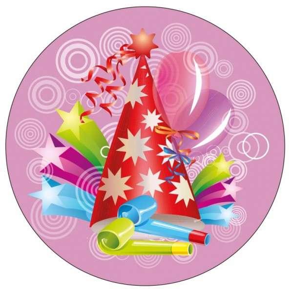Tortenaufleger Geburtstag / Party pink 10cm