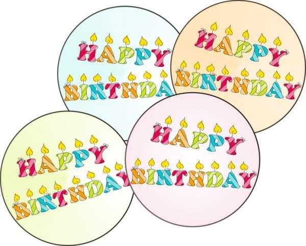 Esspapieraufleger Happy Birthday 4cm 96Stück
