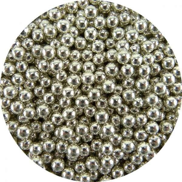 Zuckerperlen Metallic Silber 6mm 60g