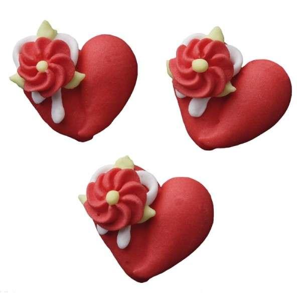Zuckerdekoration Herzen mit Blumen