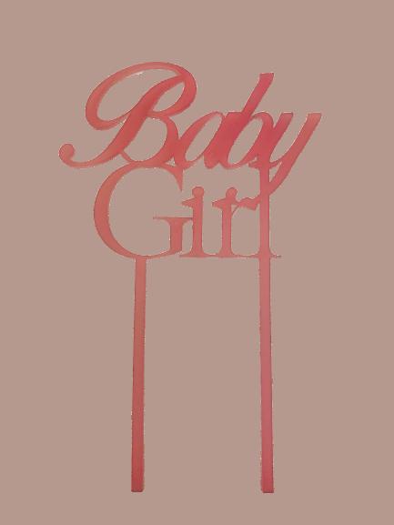 """Cake-Topper """"Baby Girl"""" Acryl rosa"""