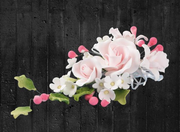 Zuckerblumenbouquet Rosen in rosa