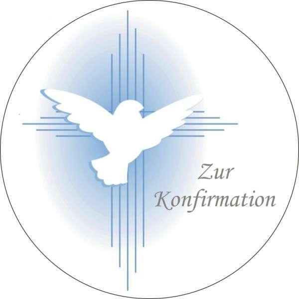 """Tortenaufleger Taube """"Zur Konfirmation"""" blau 100mm"""