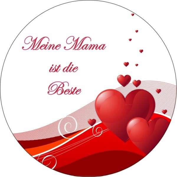 """Zuckeraufleger Muttertag """"Mama ist die Beste"""" 10cm 1 Stck"""