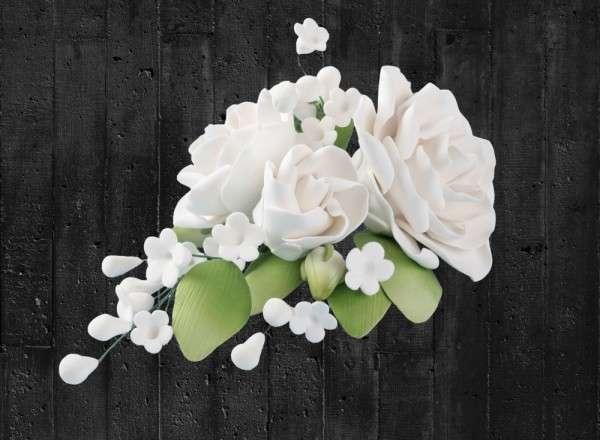 Zuckerblumenbouquet Rose Farbe weiß