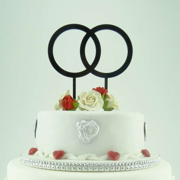 "Cake-Topper ""Doppelringe"" Acryl Schwarz"
