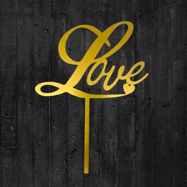 "Cake-Topper ""Love"" Acryl gold"