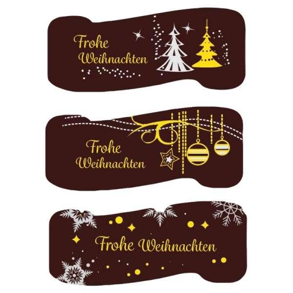 """Schokoladendeko """"Frohe Weihnachten"""" 60x28mm 72 Stück"""