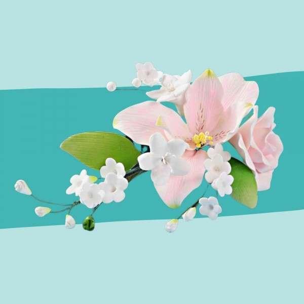Zuckerblumenbouquet Rosen und Lilien Vorschaubild