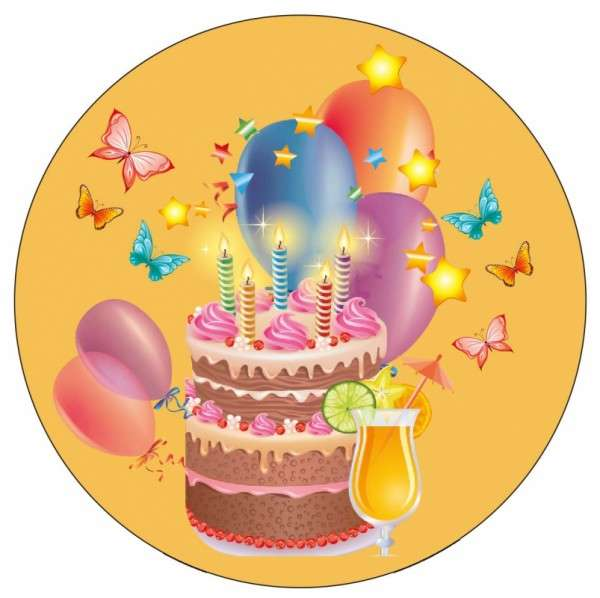 Tortenaufleger Geburtstag / Party gelb 10cm
