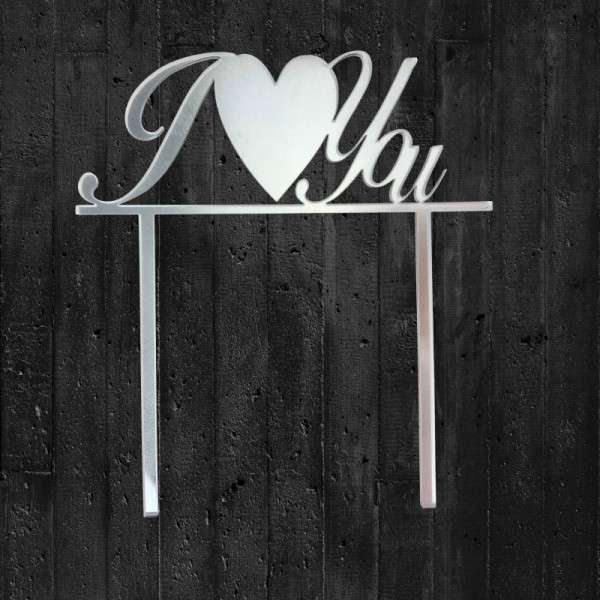 "Cake-Topper ""I Love you"" Acryl Spiegel"