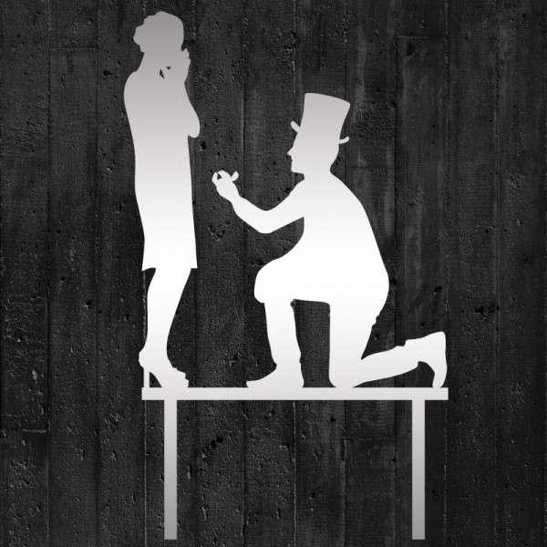 """Cake-Topper """"Brautpaar Antrag mit Ring"""" spiegelndes Acryl"""
