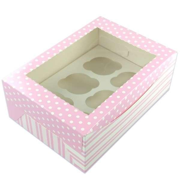 25 Cupcake Boxen für je 6 Cupcakes pink, ca.25,5 x 17,5cm Höhe 9,5cm