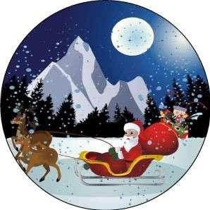 """Esspapieraufleger """"Weihnachtsmann mit Schlitten"""" 10cm"""
