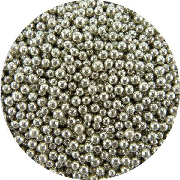 Zuckerperlen Metallic Silber 4mm 60g