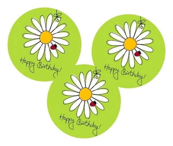 Esspapieraufleger Happy Birthday/Blume 4cm 96Stück