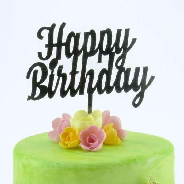 """Cake-Topper """"Happy Birthday"""" 2 SCHWARZ"""